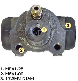 Brake wheel cylinder, Acadiane, Ami 8 estate, LHM, 17.5mm diam. Fits left or right.