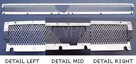 Fly mesh screen behind vent flap shutter in stainless steel.