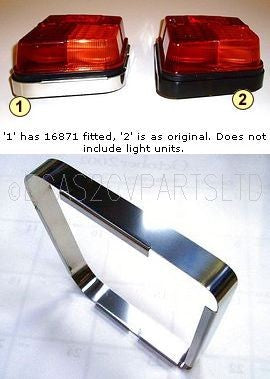 Embellisher in stainless steel for rear lamp base, pair, only fit Seima.