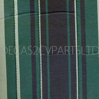 Seat upholstery set, 1 round corners, 2cv6, green jersey striped, early 1980's