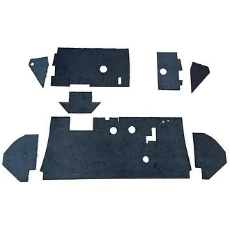 Bulkhead & dashboard fascia soundproofing trim upper & lower, right hand drive 2cv (UK), 1978 onward. SORRY, OUT OF STOCK.