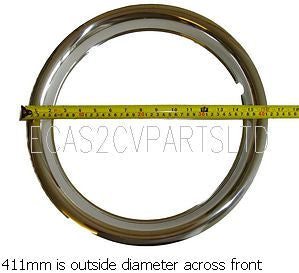 Wheel rim embellishers, stainless steel, trim ring, dress ring, rimbellisher, set of 4 for 15 inch 2cv wheels