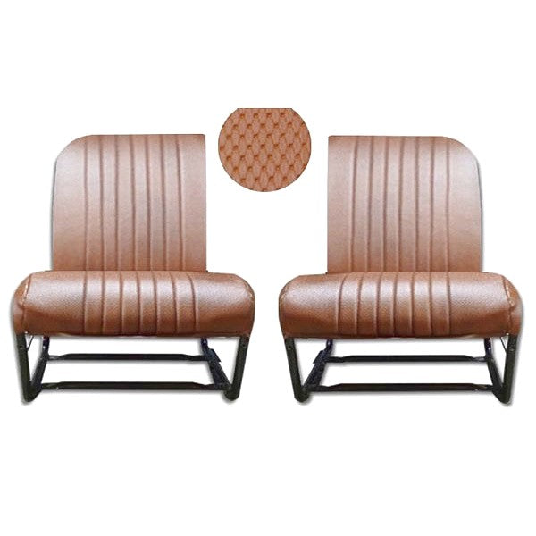 Front seat cover pair, brown targa vinyl for 2cv Club inside corners both square, outside both round, perfect for earlier Acadiane.
