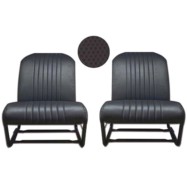 Front seat cover pair, black targa vinyl for 2cv Club inside corners both ROUNDED, outside both ROUNDED, perfect for later Acadiane.