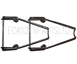 Window stay, pair, stainless steel, 2cv, long, holds window open about 90mm.