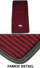 Front bench seat cover pair (2 covers), left and right, rich, dark red and red stripes in satin cotton