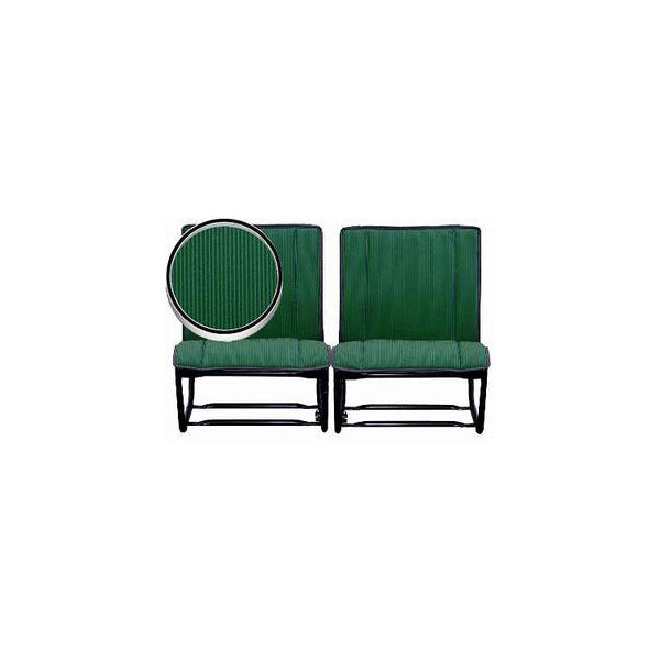 Front bench seat cover pair (2 covers), left and right, green and light green stripes in satin cotton