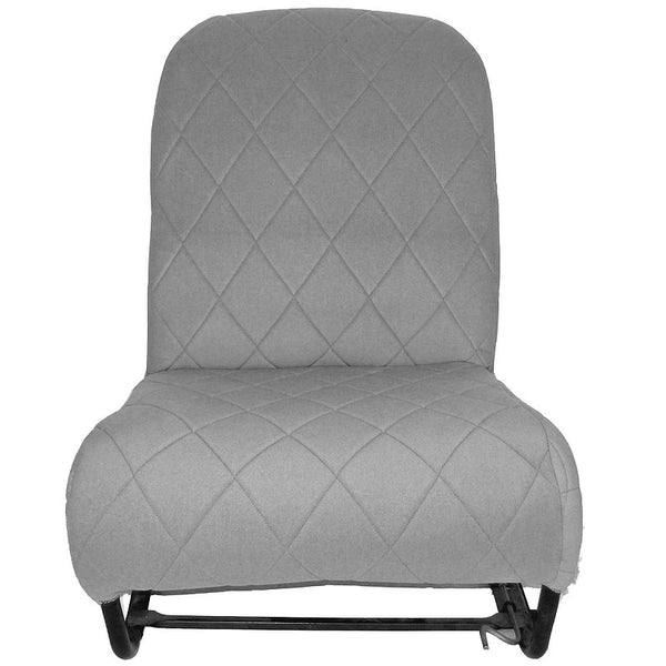 Seat cover complete 2cv 3 piece set, grey diamond stitched, like Dolly & Charleston, 2 rounded corners.