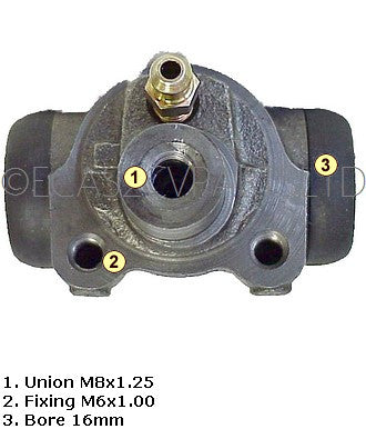 Brake wheel cylinder, REAR, 2cv 7/1981 onward, LHM, 16mm diam. Fits left or right.