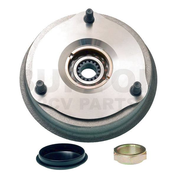 Brake drum 2cv, Dyane, rear with SKF wheel bearing 72mm fitted. NOT for Ami etc. 100% new drum. IN STOCK.