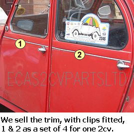 Aluminium trim moulding set at middle of doors, with clips, 2cv. Kit of all 4. SEE NOTES.