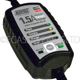 Maintenance smart battery optimiser charger, 12v/6v 1.5 AMP, FITTED UK PLUG. FOR UK USE ONLY.
