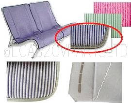 Seat cover set, 2 covers for one front bench, 1955 onward, bayadere blue striped.