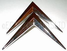Chevrons, chromed, as fitted by adhesive to 2cv grille. PAIR