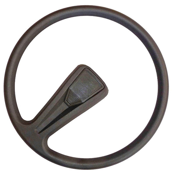 Steering wheel single spoke, 383mm diam., For Charleston or Club, original soft black type. Fits Dolly and Special perfectly BUT see important notes.