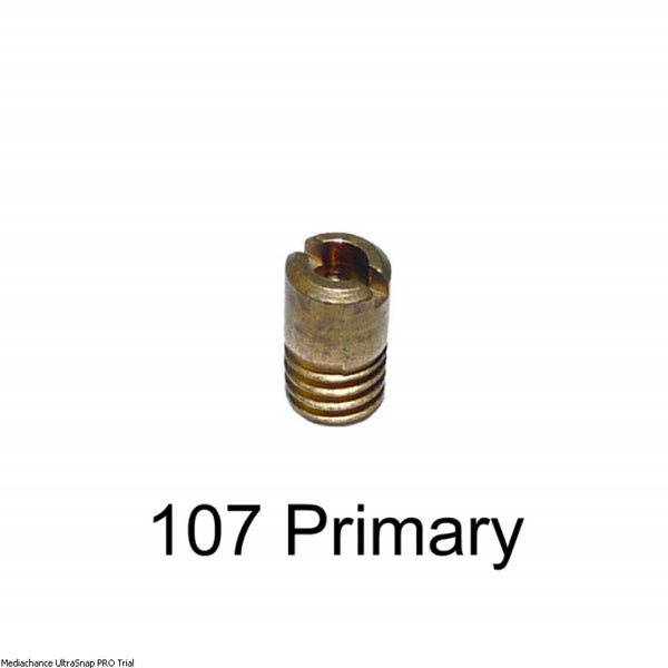 107 primary venturi petrol metering jet for (18/26) 26/35 carb. 5% size increase. Most popular size!