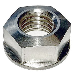 Flanged nut, stainless steel, M12, 19mm across flats to hold front wing of 2cv, 4 used per wing, price EACH.