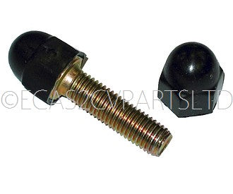 Black plastic domed cap only, fits M7 set screw or nut head, 11mm hex internal, per 1 piece.