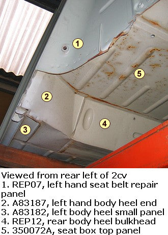 Rear body heel bulkhead, 2cv, body outer below rear seat