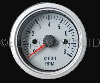 Tachometer, rev counter, 52mm diam., 12v, silver bezel, white face, for 2cv engine, 0 to 8000rpm ZERO STOCK