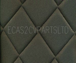 Seat cover complete 2cv 3 piece set, dark grey diamond stitched, 2 rounded corners. See details.