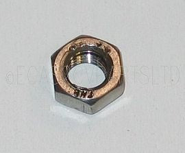 Nut, stainless steel, 11mm hex, M7 x 1.00mm pitch. Per 1 piece.