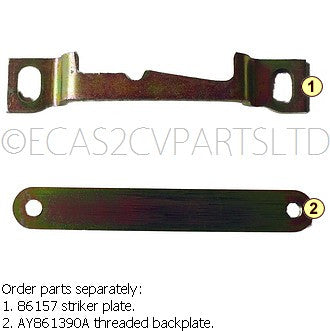 Boot lid lock striker plate, 2cv, fits at bottom of lid opening.