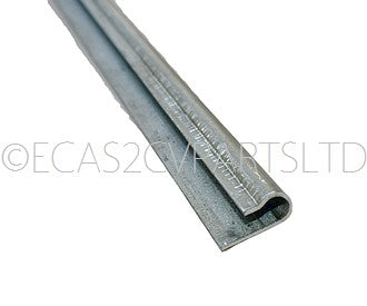 Door seal bottom metal internal retaining strip only, front or rear, 2cv, 79cm long.