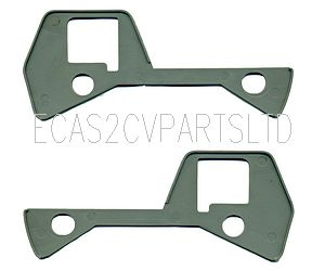Dyane door handle gasket plates, grey plastic, pair (1 x left, 1 x right).