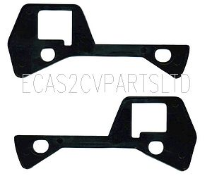 Dyane door handle gasket plates, black plastic, pair (1 x left, 1 x right).