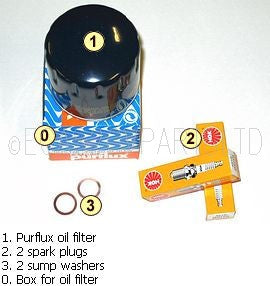 Service kit, BASIC, Purflux oil filter, 2 spark plugs, 2 sump washers.