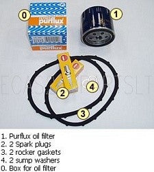 Service kit, 'A', Purflux oil filter, 2 rocker gaskets, 2 spark plugs, 2 sump washers.
