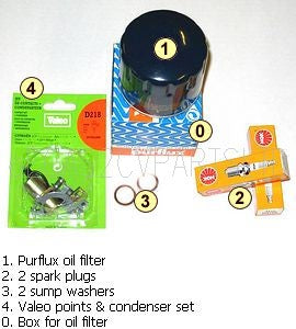 Service kit, 'EXTRA',Purflux oil filter, 2 spark plugs, 2 sump washers, points + condensor set.