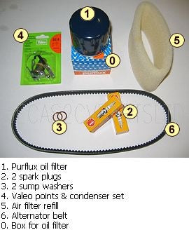 Service kit, 'COMPLETE', Purflux oil filter, 2 spark plug, 2 sump washer, points and condenser set, air filter refill, fan belt