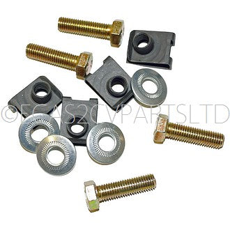 Set of 4 set screws M7x25, washers and j-clips to fasten 1 REAR bumper bracket to chassis.