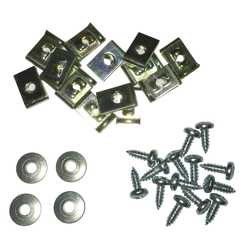 Set of self tap screws & clips to hold METAL ducting together. 14 screws, 14 speed clips, 4 washers.