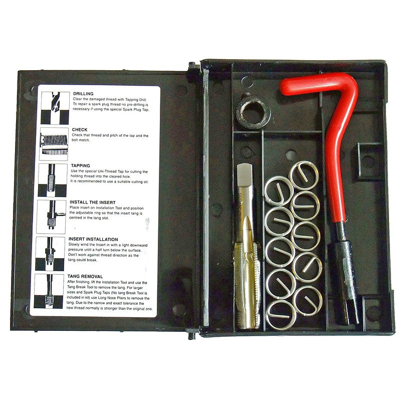 "Helical coil insert kit to replace ten stripped spark plug threads. M14x1.25, 1/2"" reach."