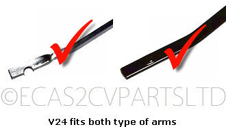 Wiper blade by Valeo, push-on or screw fit, 255mm, these fit both types of original 2cv arms. PRICE PER PAIR. SEE NOTES.