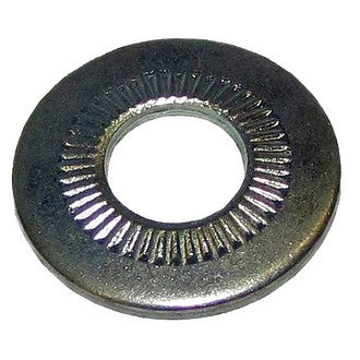 Washer, plated, Citroën belleville type, 10.5mm hole x 22mm, use under nut holding engine to gearbox, One piece.