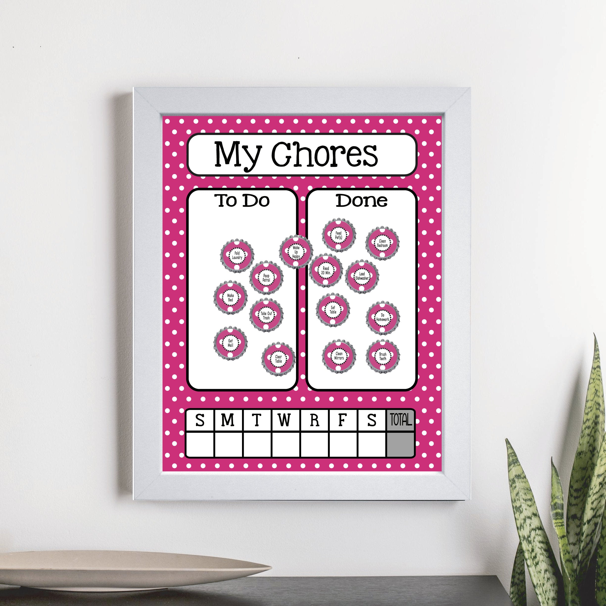 Magnetic Chore Chart - Pink Dot