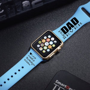 Personalized Engraved Best Dad Ever Apple Watch Band Father's Day - Multiple Colors