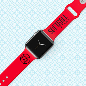 Personalized Engraved SOFTBALL MOM  Apple Watch Band - Multiple Colors