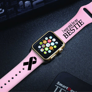 Hope Pink Ribbon Breast Cancer Awareness Support - Engraved Apple Watch Band - Multiple Colors