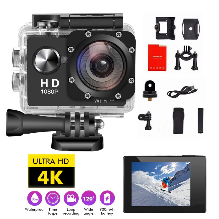 Action Cam Wifi 4K HD 1080P 2inches touchscreen sport camera dvr camcorder waterproof underwater hunting - WorldSxxxWide2k15