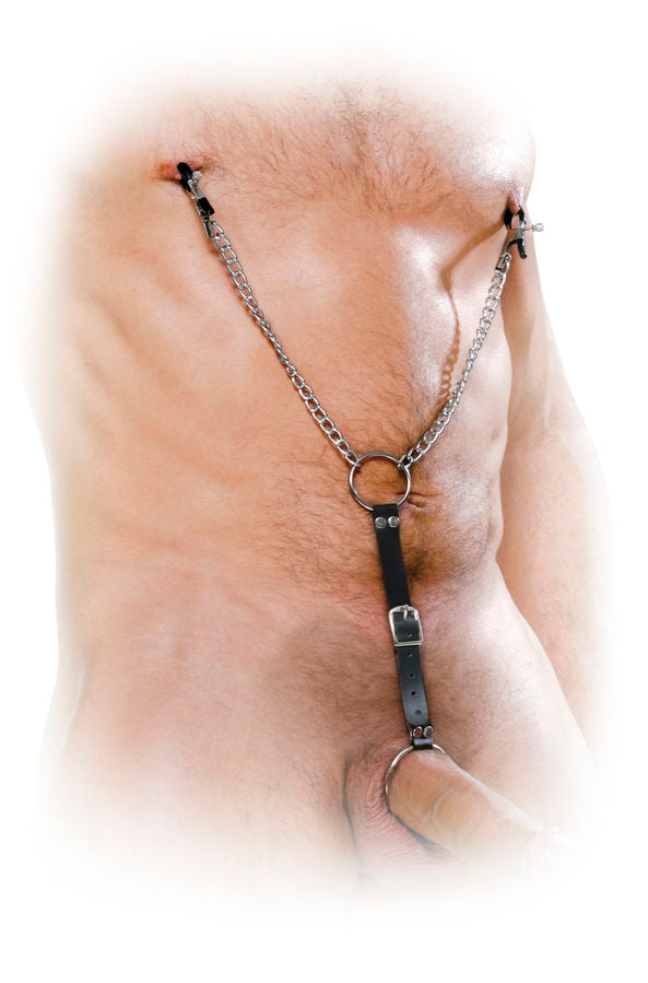 Nipple clamps and metal cockring set for men fetish fantasy by pipedream - WorldSxxxWide2k15