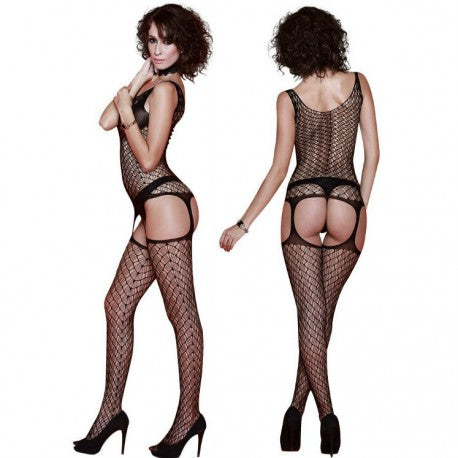 {WWR2K15} Quen Lingerie Catsuit Bodystocking Teddy and Garter Belt Black Free Size - WorldSxxxWide2k15