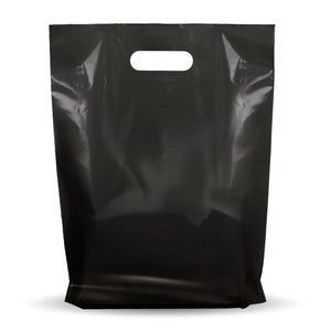 "100 Pack 12"" x 15"" with 1.25 mil Thick Black Merchandise Plastic Glossy Retail Bags"