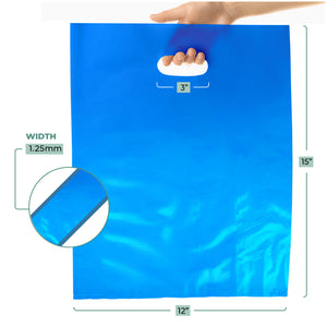 "100 Pack 12"" x 15"" with 1.25 mil Thick Blue Merchandise Plastic Glossy Retail Bags"