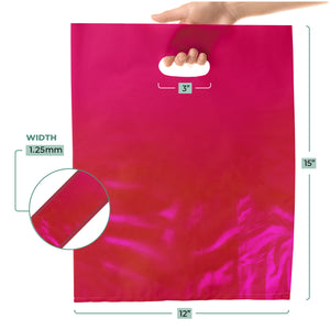 "1000 Pack 12"" x 15"" with 1.25 mil Thick Pink Merchandise Plastic Glossy Retail Bags"