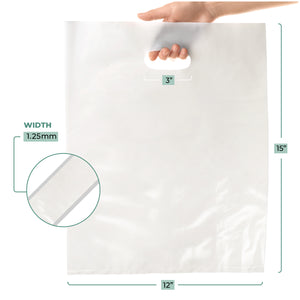 "100 Pack 12"" x 15"" with 1.25 mil Thick White Merchandise Plastic Glossy Retail Bags"